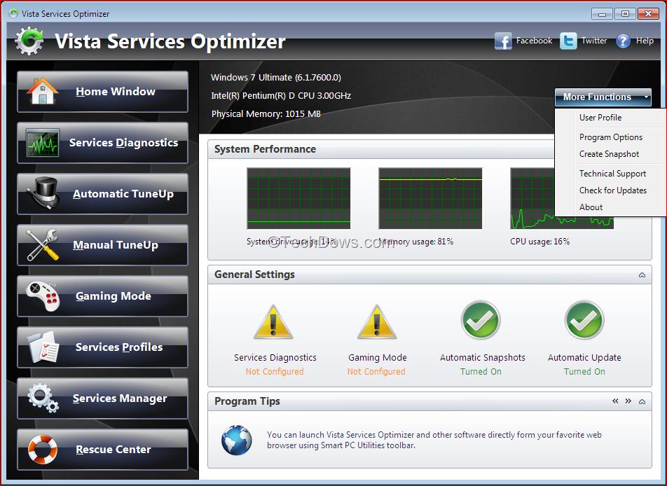 Основные системные службы Windows