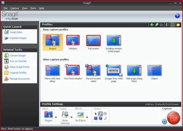 Создание скриншотов с помощью Snagit.