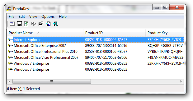 Утилита ProduKey для восстановления ключей продуктов