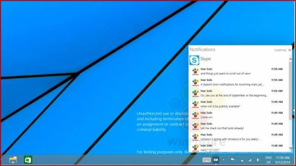 В Windows 9 появится центр уведомлений