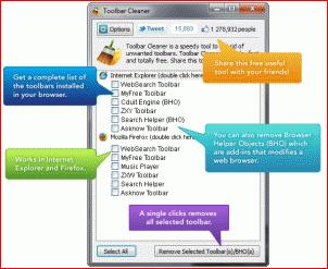Toolbar Cleaner – полезный инструмент для удаления ненужных расширений из популярных браузеров.